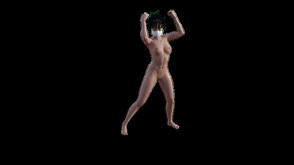 Nude, Pose, Mask, Respirator, Braids, Rasta, Infection