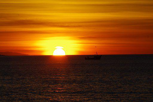 Dawn, Ocean, Sky, Sun, Landscape, Water