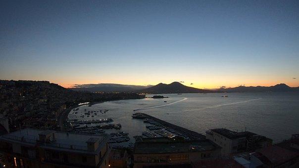 Napoi, Naples At Dawn, Naples, Dawn, Landscape, Clouds