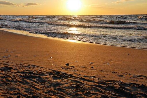 Sea, Spacer, Beach, Water, West, Sand, The Sun