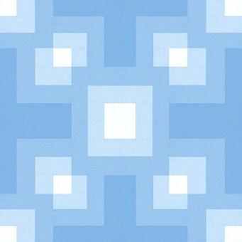 Fabric, Shades, Blue, Geometric, Design, Blocks