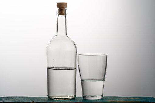 Bottle, Glass, Grey Background, Drinking, Liquid