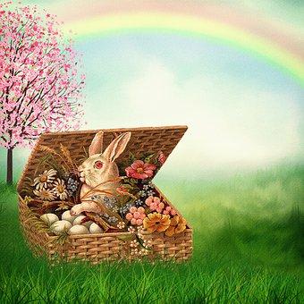 Osterkarte, Vintage, Easter Bunny, Basket, Flowers