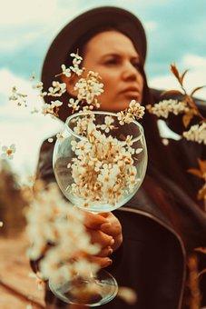Flowers, Nature, Girl, Portrait, Glass