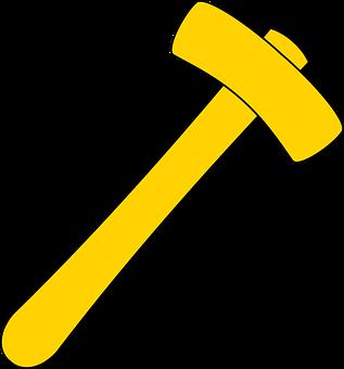 Hammer, Tool, Yellow, Carpenter, Builder, Handyman