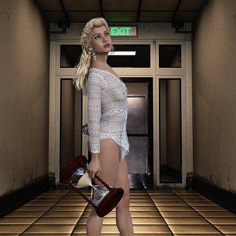 Woman, Corridor, Hourglass, Portrait, Person, Female