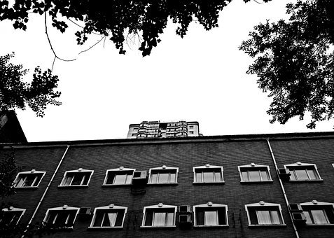 Building, Apartments, Black And White