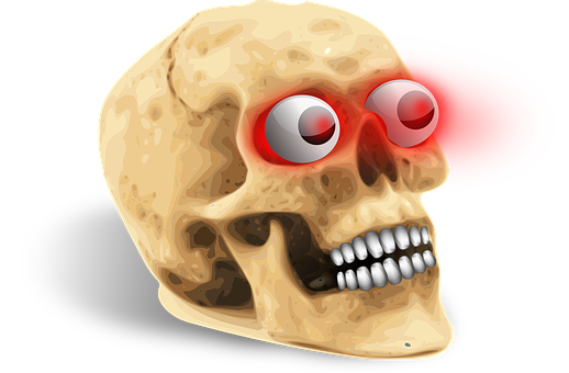Skull, Glowing Eyes, Death, Glow, Grave, Halloween, Red