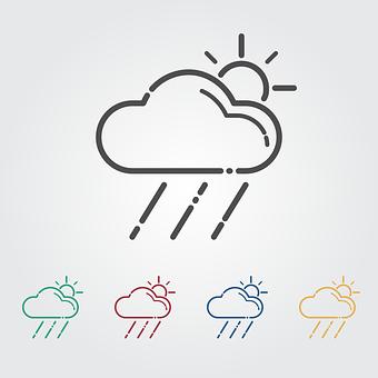 Cloud, Sun, Rain, Icon, Weather, Meteorology, Flat