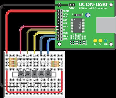 Ucon-uart, Breadboard, Electronics Circuit, Electronic