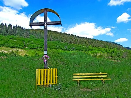 Cross, Bench, Countryside, Nature, Piety