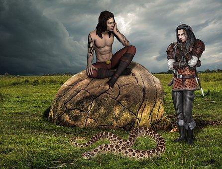 Fantasy, Man, Snake, Grass, Stone, Clouds, Friends