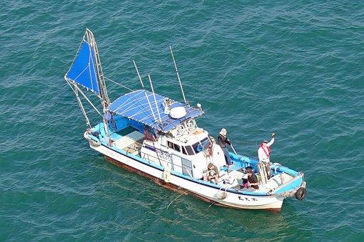Kanmon Strait, Japanese Fishing Boat, Fishing, Water