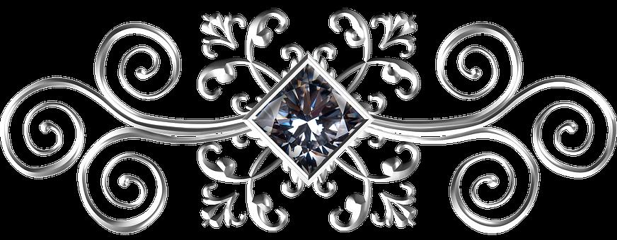Silver, Square, Gem, Ornament, White, White-metal, Iron