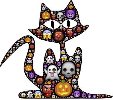 Cat, Halloween, Emoji, Scary, Frightful, Spooky, Icons