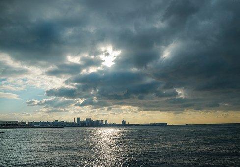 Kobe, The Sea, Blue Sky, Blue Sky And White Clouds, Sky