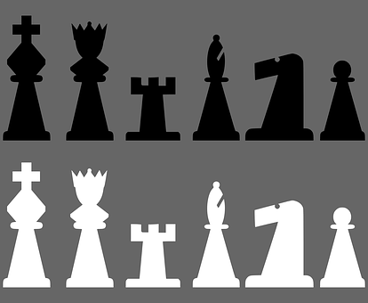 Chess, Meeples, Black, White, King, Queen, Rook, Pawn
