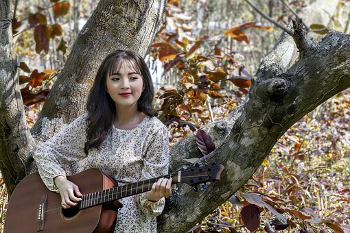 Vietnam, Girl, Young, Beautiful, Leaf, Red, Guitar