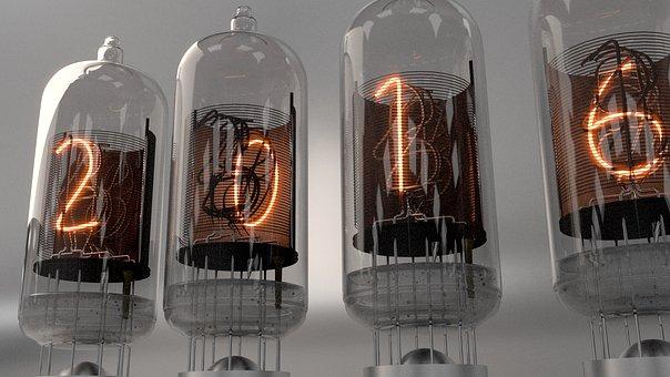 Nixie Tubes, Neon, Vintage, Electronic, Retro, Glowing