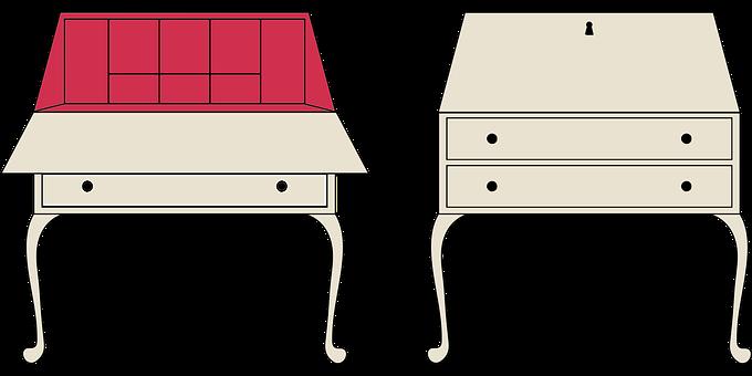 Writing Desk, Open, Closed, Vintage, Furniture, Antique