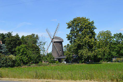Windmill, Sky, Architecture, Eversael, Meadow, Field