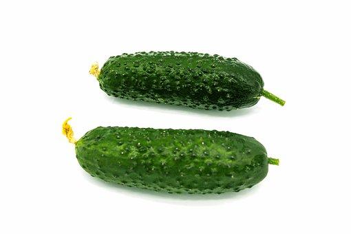 Cucumbers, Isolated, Background, Green, White, Fresh