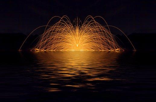 Fireworks, Radio, Water, Wave, Fire
