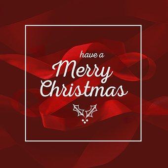 Merry Christmas, Christmas, Wish, View, Red, Ribbon
