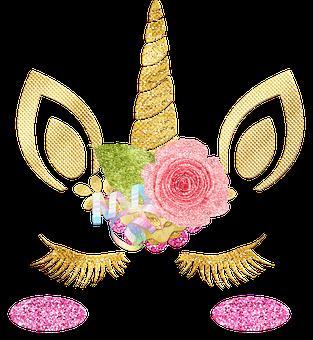 Unicorn Face, Unicorn, Gold Foil, Eyelashes, Glitter