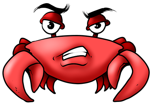 Crab, Crabby, Angry, Grumpy, Red, Drawing, Cartoon