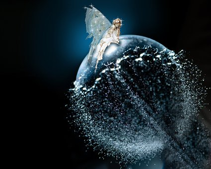 Fairy Bubble Of Water, Blue, Star, Fantasy, Mystic
