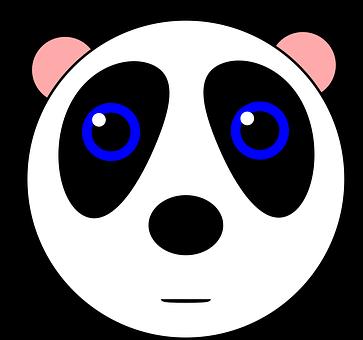 Panda, Bear, Animal, Cute, Black, White, Cartoon, Face