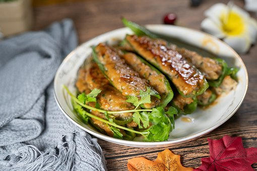 Fried Stuffed Chili Fish, Chinese Food, Cantonese Food