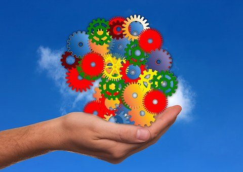 Hand, Keep, Gears, Colorful, Clouds