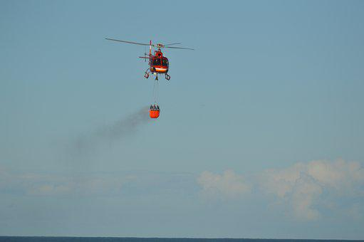 Fire, Heli, Helicopter, Fly, Flying, Aerial