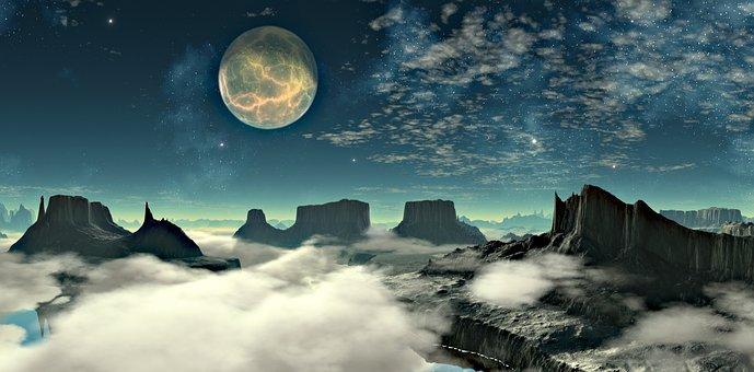 Lunar Landscape, Space, Mountains, Clouds, Moon
