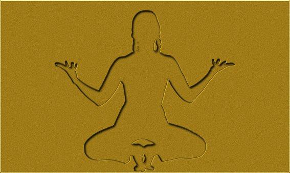 Yoga Drawing, Meditation Golden Sketch, Relajacion