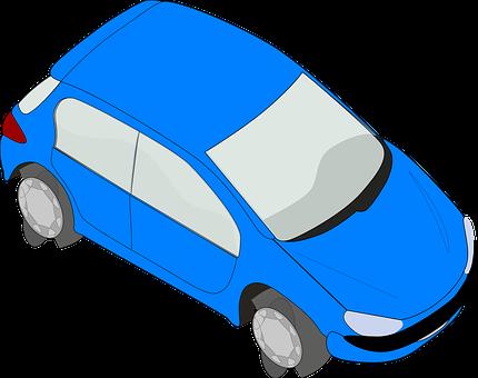 Car, Vehicle, Automobile, Modern, Blue, Four Doors
