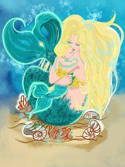 Sea, The Little Mermaid, Mermaid, Water