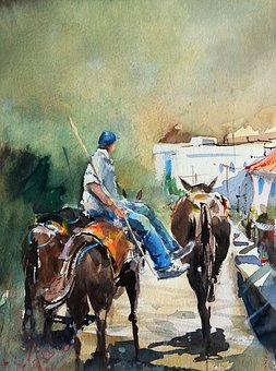 Watercolor, Greece, Donkey, Riding, People, Man, Seated