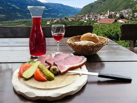 Eat, Drink, Wine, Carafe, Glass, Bacon, Ham