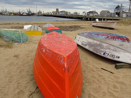 Boats, Small, Dingy, Beached, Array, Assortment