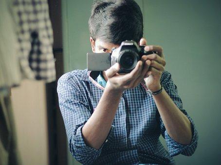 Camera, Canon, Mirror, Selfie, Photographer, Digital