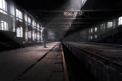 Factory, Skateboard, Abandoned, Boy, Decay, Apocalypse