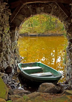 Boot, Kahn, Old, Water, Pond, Fishing Boat, Vault, Arch