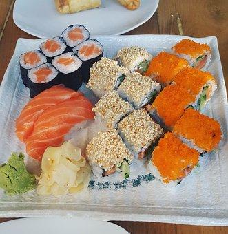 Sushi, Food, Japan, Salmon, Plate