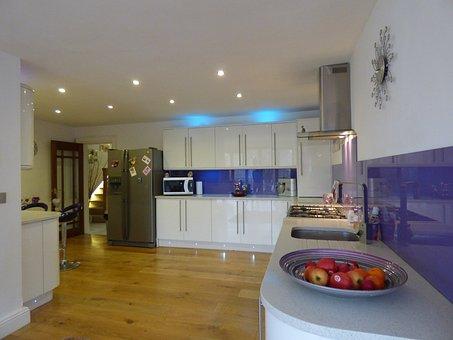 Kitchen, White, Gloss, Interior, House, Luxury, Granite