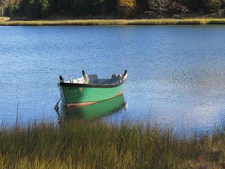 Boat, Green, River, Estuary, Cape Cod