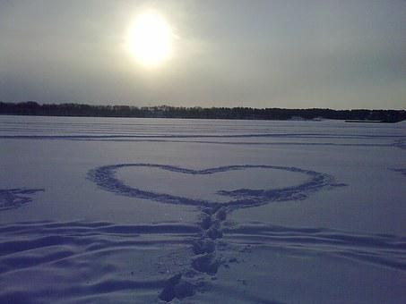Heart, Sunset, Ice, Snow, Ice-skating, Love, Shape