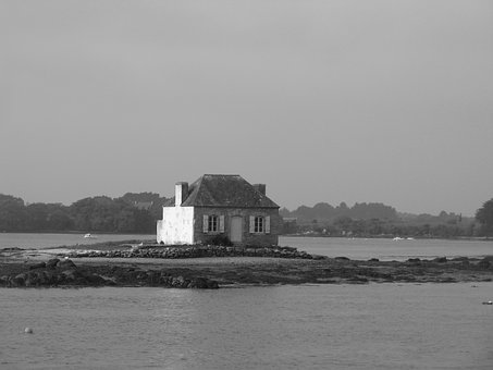 Brittany, House, Ile, Water, Sea, Ocean, Small House